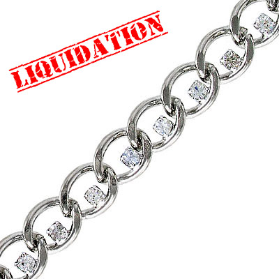 Chain with Swarovski stones, rhodium imitation, 2 meters
