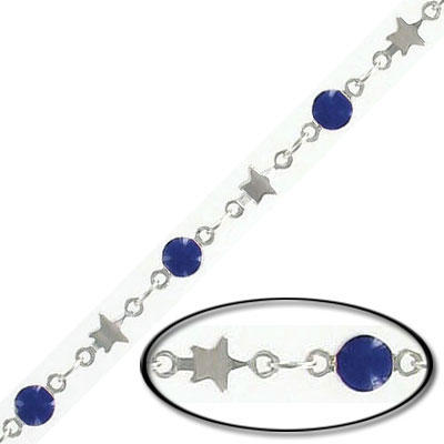 Chain, 4mm star, 4mm purple disk, rhodium imitation
