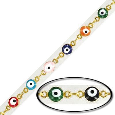 Link chain, with multi-color evil eye, gold plate