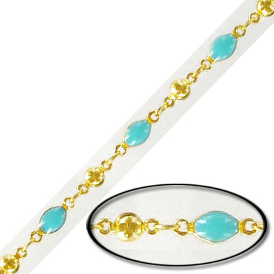 Link chain, with 4x6mm turquoise bead, gold plate