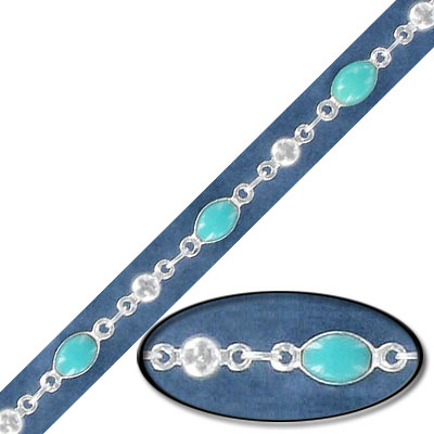 Link chain, with 4x6mm turquoise bead, silver plate