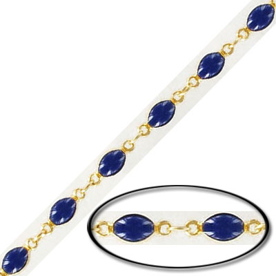 Link chain, with 4x6mm navy bead, gold plate
