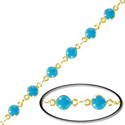 Link chain, with 4mm turquoise bead, gold plate