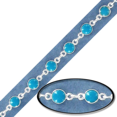 Link chain, with 4mm turquoise bead, silver plate