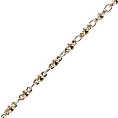 Fancy link chain, 0.4mm wire, 2.6x3.6mm and 3.46x7.87mm links, brass core, gold color plating, 5 meters