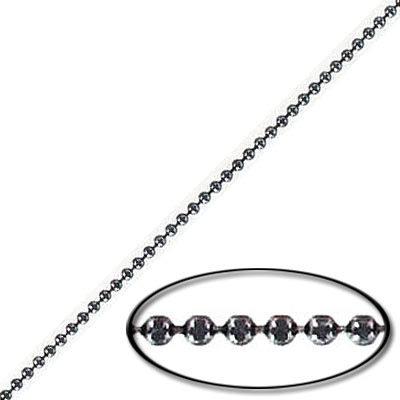 Faceted ball chain, 1.2mm, brass core, black nickel finish, 10 meters