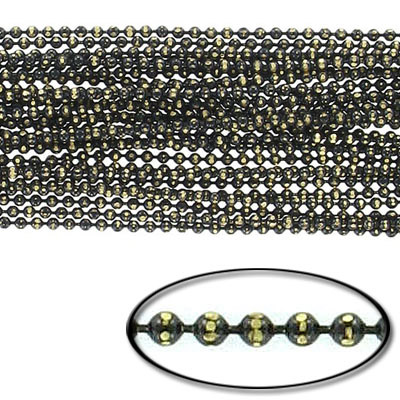 Brass core ball chain, 1.5mm, electroplated black and gold, 5 meters