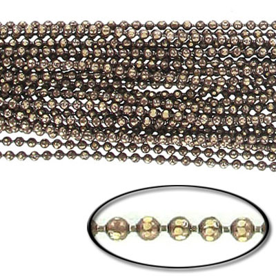 Brass core ball chain, 1.5mm, electroplated brown and gold, 5 meters