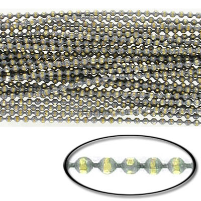 Brass core ball chain, 1.5mm, electroplated grey and gold, 5 meters