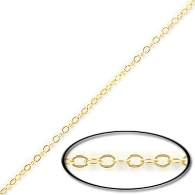 Fine flat cable chain, 2x1.5mm, gold filled, gold plate