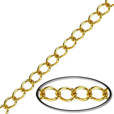 Chain curb link (3.5 mm wide) 20 metres gold plate