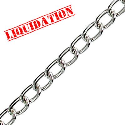 Chain curb link (8.5x5mm) 10 metres nickel plate