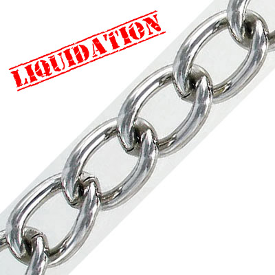 Chain, 19x12x3mm, rhodium imitation, 5 meters