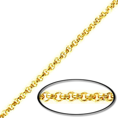 Chain, 0.8mm wire, 2mm link, stainless steel, grade 304l, gold vacuum plating, 10 meters