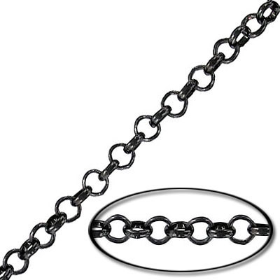 Chain rolo link (3.5mm) 20 metres black nickel plate