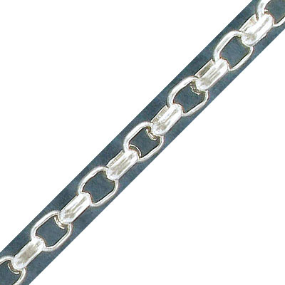 Chain rolo, link 5x8mm, silver plate, steel core, 10 meters
