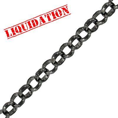 Chain rolo link (6mm) 10 metres black nickel plate
