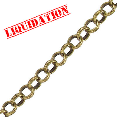 Chain rolo link (6mm) 10 metres antique brass