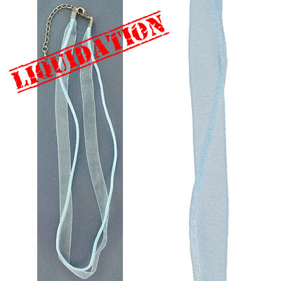 Necklace sheer ribbon and rattail light blue 16