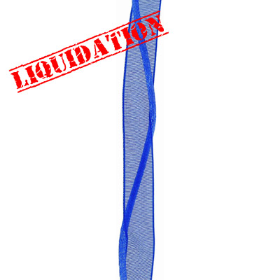 Necklace sheer ribbon and rattail royal blue 16