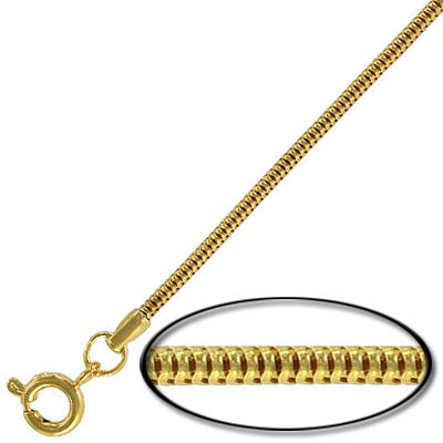 Neck chain, snake chain necklace, 16 gold plated
