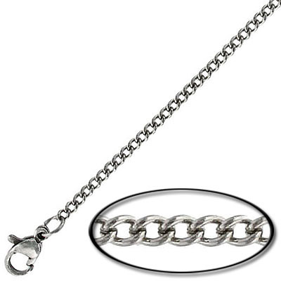 Neckchain, curb cut link, 0.6mm wire, 2.25x2.7mm link, stainless steel, 304l grade, 16 inch