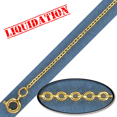 Neckchain with spring ring clasp, brass core, 1.50x2.0mm link, 0.30mm wire, gold plate, 18 inch