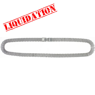 Neckchain, mesh 8x3mm, rhodium imitation, 18 inch