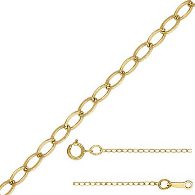 Neckchain, 1.5mm flat cable chain, spring ring clasp, gold filled, gold plate, 18 inch