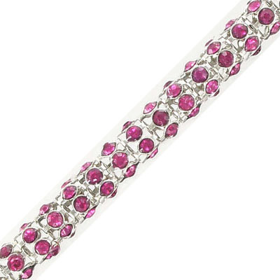 Round chain with fuchsia color stones, rhodium imitation