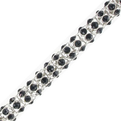 Round chain with jet color stones, rhodium imitation