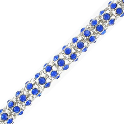 Round chain with sapphire color stones, rhodium imitation