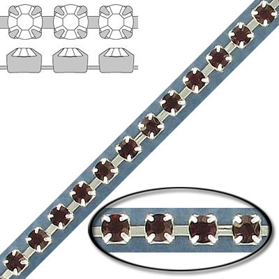 Rhinestone set chain, pp24 size, maxima burgundy, silver plate
