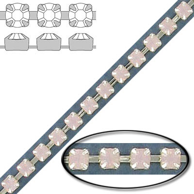 Rhinestone set chain, pp24 size, rose opal, silver plate
