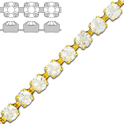 Rhinestone chain crystal gold