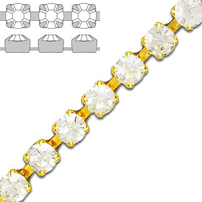 Rhinestone set chain, ss29 size, crystal/gold