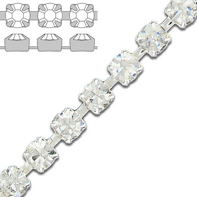 Rhinestone set chain crystal silver