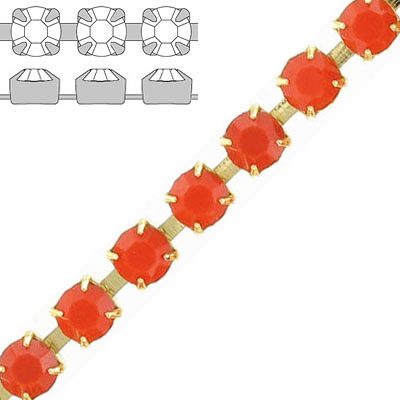 Rhinestone set chain, ss29 size, coral, gold plate