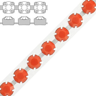 Rhinestone set chain, ss29 size, coral, silver plate