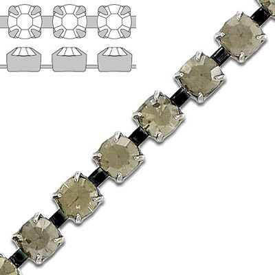 Rhinestone chain, ss29 size, black diamond, black nickel plate