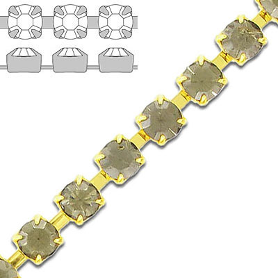 Rhinestone chain, ss29 size, black diamond, gold plate