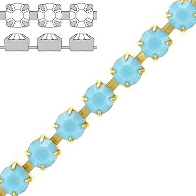 Rhinestone set chain, ss29 size, turquoise, gold plate