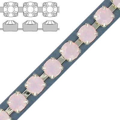Rhinestone set chain, ss29 size, rose opal, silver plate