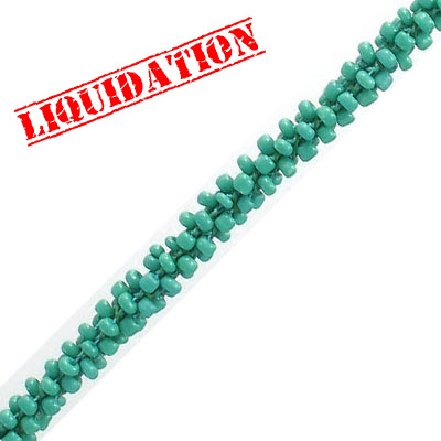Cord with rocaille beads, green, 5 meters