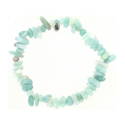 Elastic bracelet, amazonite chips, approx. 7 inches