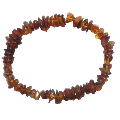Elastic bracelet, amber chips, approx. 7 inches