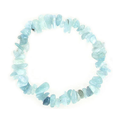 Elastic bracelet, aquamarine chips, approx. 7 inches