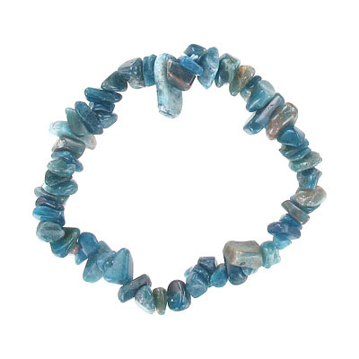 Elastic bracelet, blue apatite chips, approx. 7 inches