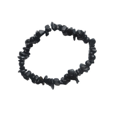 Elastic bracelet, black tourmaline chips, approx. 7 inches