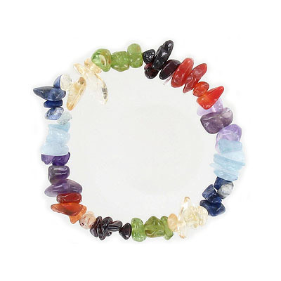 Elastic bracelet, chakra colors chips, approx. 7 inches